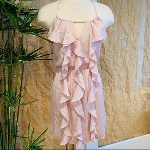 GLAM Strappy Ruffle Halter Backless Mini Dress M